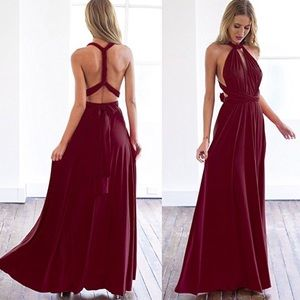 Dresses & Skirts - Burgundy Multi-Way Wrap Convertible Halter Maxi